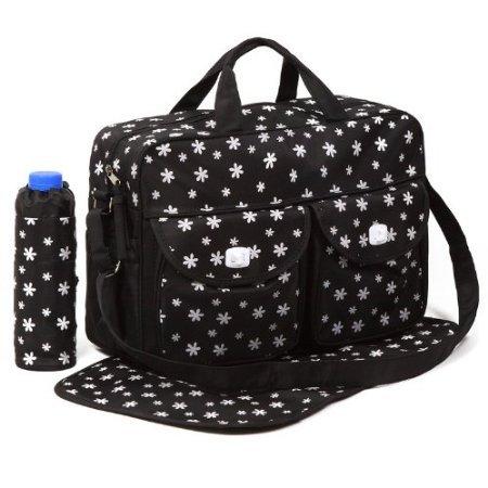 Nido del Bimbo–Juego de bolsas para Cambio de Pañales, 3 unidades + Bolso + Cambiador + Porta Biberón STAR BLACK FLOWER BLACK