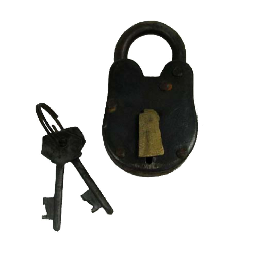 "3"" Antique Style Lock- Iron with Brass - Padlock and Keys"
