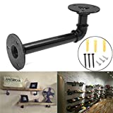 KINGSO 16x8cm Industrial Black Iron Pipe Shelf Bracket Wall Mounted Floating Shelf Hanging Wall Hardware Steampunk Decor for Custom Shelf Plumbing Pipe Shelf Restoration Hardware Shelf