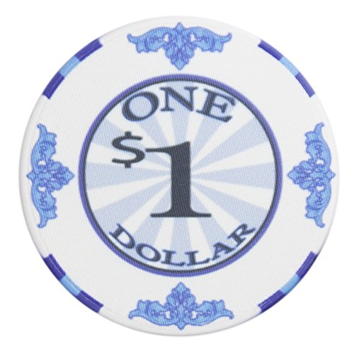 Brybelly Scroll Poker Chip Lightweight 10-gram Casino Grade Ceramic – Pack of 50 ($1 White)