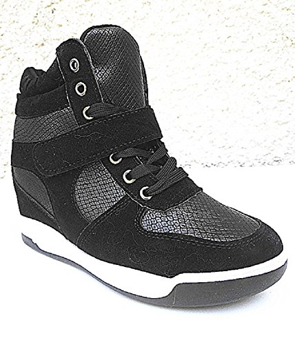 fashionfolie Baskets Urban Filles Compensées 8 Et Bimatière Femme CM Chaussures Noir BF Mode 62 rrfxqdYF