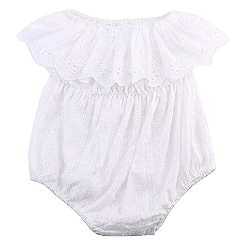 Baby Girl Romper Jumpsuit Off Shoulder Lotus Leaf Bodysuit Infant Clothes Outfit (80 (6-12M), White)