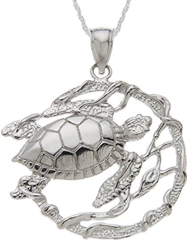 US Jewels And Gems Solid 0.925 Sterling Silver Sea Turtle Charm Pendant Rope Chain Necklace