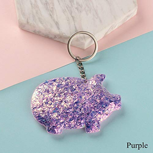 Bananas Linking - Women Men Animal Pattern Glitter Sequins Keychain Pig Keyring Handbag Pendant (Color - Purple)