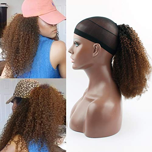 Beauty : Sassina 100% Human Hair Extensions Virgin Brazilian Afro Curly Clip-in Top Closure Ponytail With Drawstring For Black Women Natural Color To Chocolate Brown #4 Ombre Ponytail ACTN4 16Inch