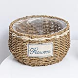 EXDJ Handmade straw willow rattan bamboo creative flower pots Creative Flower Basket,Big