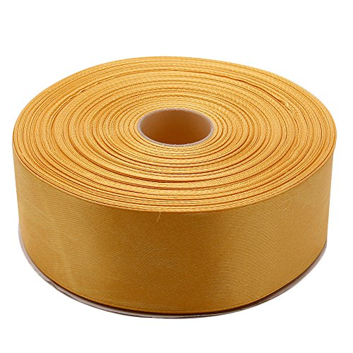 - Topenca Supplies 1-1/2 Inches x 50 Yards Double Face Solid Satin Ribbon Roll, Gold