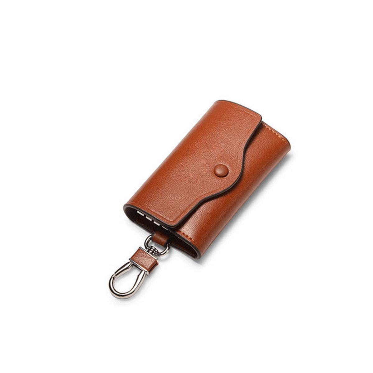 Brown Hongyushanghang Key Case, Men's Fashion Leather Key Storage Bag, Large Capacity, 6 Key Rings, 2 Card Slots and 1 Car Keychain, Black, Brown, bluee, Size  4.4  2.6  1 (inches) Safety (color   Brown)