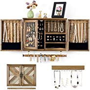 Sunix Rustic Jewelry Organizer Wall Mounted Jewelry Holder with Wooden Barn Door for Necklaces Earings Bracele