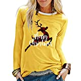 Womens Christmas Graphic Printed Blouses Long Sleeve Loose Tops T-Shirts Yellow