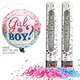 Gender Reveal Confetti Cannon Bundle- Baby Reveal Party Supplies with Gender Reveal Boy or Girl Balloon - Set of 1 Pink and 1 Blue Confetti Poppers