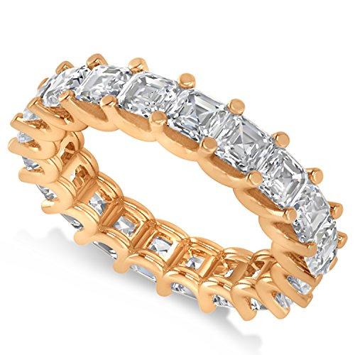 - Allurez Radiant-Cut Diamond Eternity Wedding Band Ring in 14k Rose Gold (5.00ct)