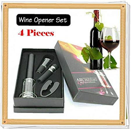 Hotaden 4pc Wine Opener Wine Air Pressure Pump Opener Set, Wine Bottle Cork Remover Pump Tool Kit Corkscrew with Wine Aerator Pourer, Vacuum Stopper Wine Accessories