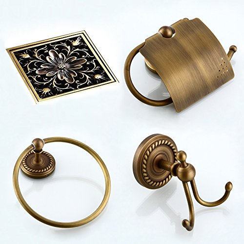 LightInTheBox Antique Bronze Bathroom Accessory Set Towel Ring, Robe Hook, Toilet Paper Holder, Floor Drain Set Bath Collection Set Bathroom Storage Orgnization
