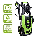 PowRyte Elite 3600 PSI 1.9 GPM Electric Pressure Washer, Electric Power Washer with Hose Reel, 5 Quick-Connect Spray Tips
