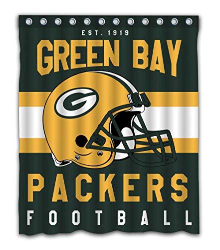 Weckim Custom Green Bay Football Team Waterproof Fabric Shower Curtain Colorful Design for Bathroom Decor 12 Holes Size 60x72 Inches