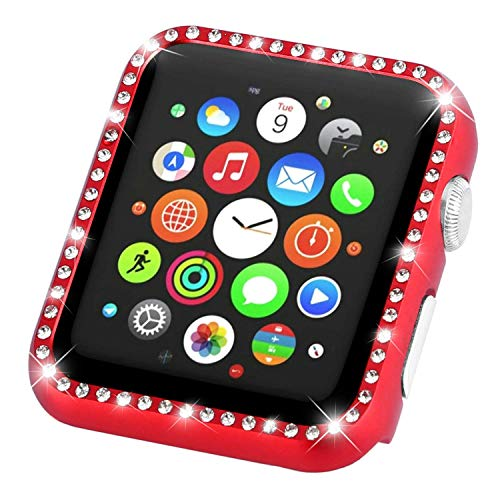 Tech Express Crystal Diamond Bling Case Aluminum Metal Lightweight Snap on Frame for Apple Watch [iWatch] Impact Shockproof Protection Stainless Steel Cover Accessories (Red, 44mm)