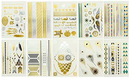 10 Premium Sheets of Metallic Gold Silver Turquoise and Multi-color Temporary Flash Tattoos for Women & Girls - Over 120 Tattoos - Waterproof Trending Top Fashion Accessory