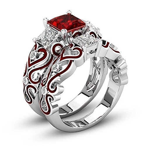 2-in-1 Women's Red Diamond Ring, FirstFly Girls Lovers Crystal Engagement Wedding Band Ring Set Jewelry (US Size 8, Silver)