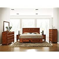Roundhill Furniture Oakland 139 Antique Oak Finish Wood Bed Room Set, Queen Storage Bed, Dresser, Mirror, 2 Night Stands, Chest