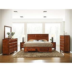 Roundhill Furniture B139QDMN2C Oakland 139 Wood Bedroom Set, Queen, Antique Oak Finish