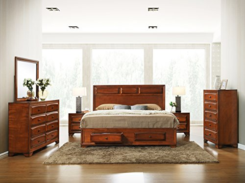 Roundhill Furniture B139KDMN2C Oakland 139 Antique Oak Finish Wood Bed Room Set including King Storage Bed Mirror and 2 Night Stands (Solid Wood King Size Bedroom Set)