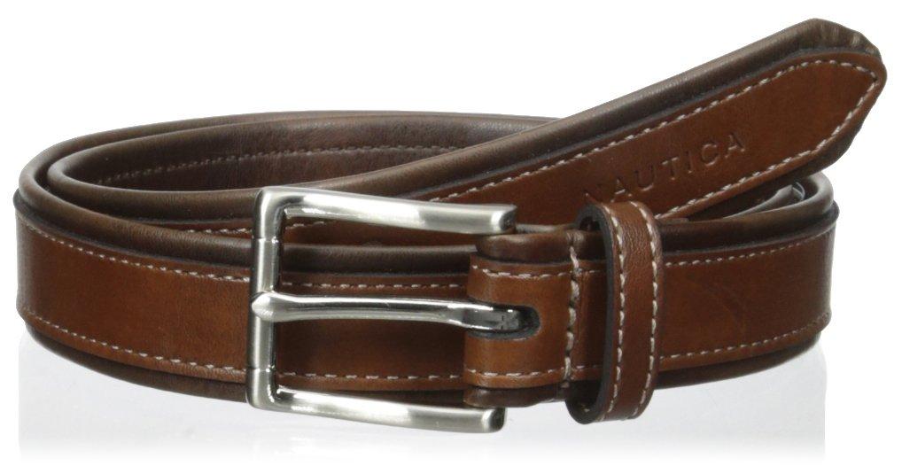 Nautica Boys' 25mm Tubular Belt with Leather Overlay, Brown, 26