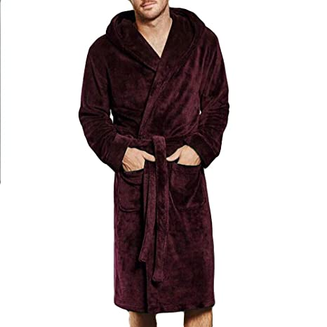 Image Unavailable. Image not available for. Color  Fiaya Men s Winter Warm Hooded  Long Sleeve Super Soft Cosy Plush Fleece Dressing Gown ... 8fa73554d