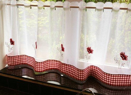 STUNNING POPPY FLORAL RED WHITE RESTAURANT KITCHEN CAFE CURTAIN DRAPE PANEL 60