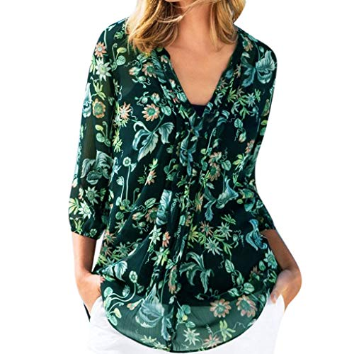 Kimono Vintage Floral Print Beach Cover Up Tops,Londony Women's Chiffon Loose Swing Capes 3/4 Sleeve Irregular Tops Green