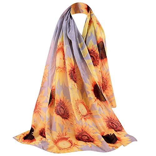 Londony ♥ Scarves for Women,Unique Chrysanthemum Print Lightweight Silk Feeling Scarf Wraps For Womens ()