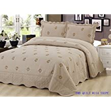 Bedding 3 Piece / Bedspread Bed Quilt Set / Embroidered / 2 Pillow Sham, Taupe (King)