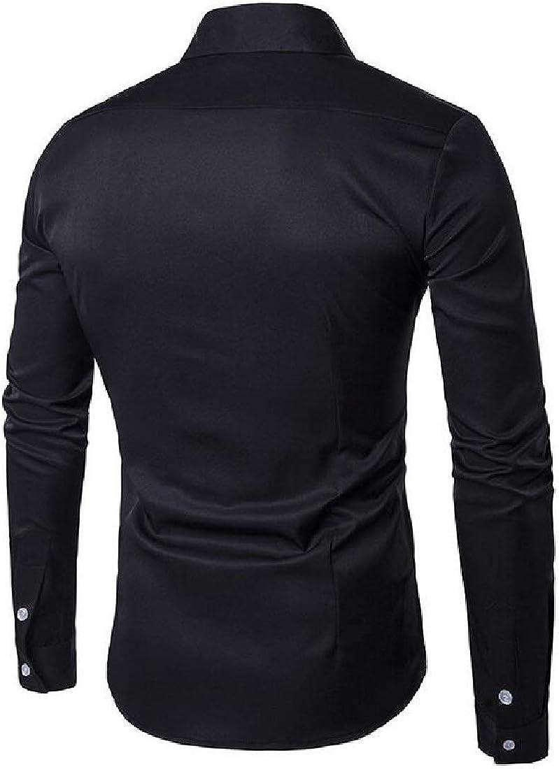 ouxiuli Mens Fashion Cotton Long Sleeve Plaid Classic Shirt Dress Shirt