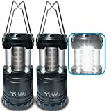 Portable Outdoor LED Camping Lantern YUWO Ultra Bright LED LIGHT Emergency Light for Hiking Emergencies Hurricanes Outages Storms Camping BLACK (2 PACK)