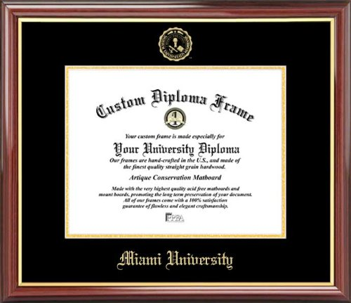 - Laminated Visuals Miami University (OH) Redhawks - Embossed Seal - Mahogany Gold Trim - Diploma Frame