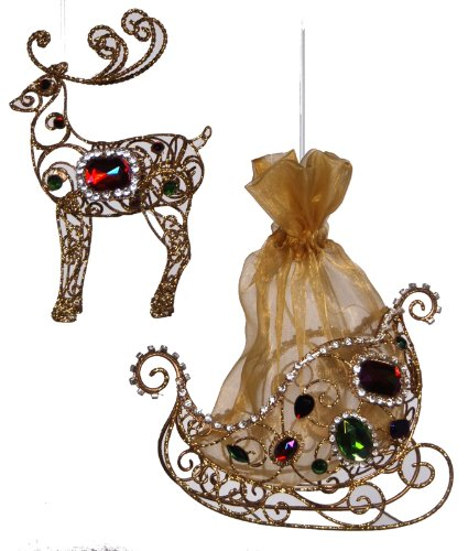 Katherine's Collection Jeweled North Pole Reindeer Santas Sleigh Ornaments Set of 2