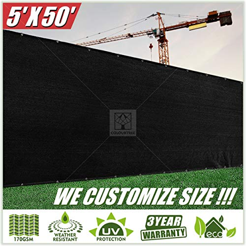 ColourTree 5' x 50' Black Fence Privacy Screen Windscreen, Commercial Grade 170 GSM Heavy Duty, We Make Custom Size ()