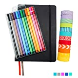 Wonderful Washi Bullet Journal Set Black - Includes Hard Cover A5 5.7'' x 8.3'' Journal (120 Dotted Pages), 12 Multi-Color Fine Liner Pens (0.4 Point), 12 Rolls of Washi Tape