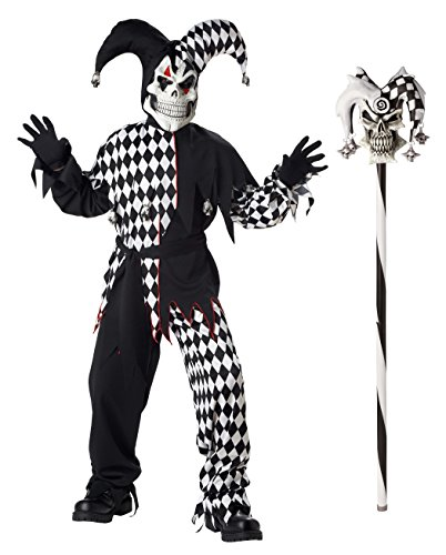 California Costumes Boys Evil Jester Costume with Jester Cane, Black/White, X-Large (Fool Costume)