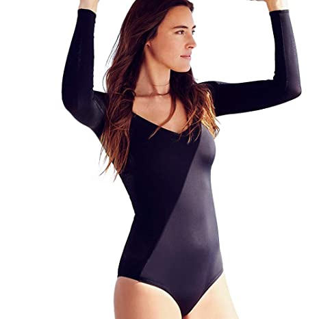 5d14e159697 Women One Piece Solid Color Long Sleeve Zip-up Swimsuit Monokini Sexy  Padded Bathing Suit Swimwear for Swimming Surfing - Size S(Black):  Amazon.in: Sports, ...