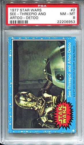 1977 Star Wars Topps Trading Card #2 See Threepio and Artoo Detoo C3PO R2D2 PSA 8 NMT