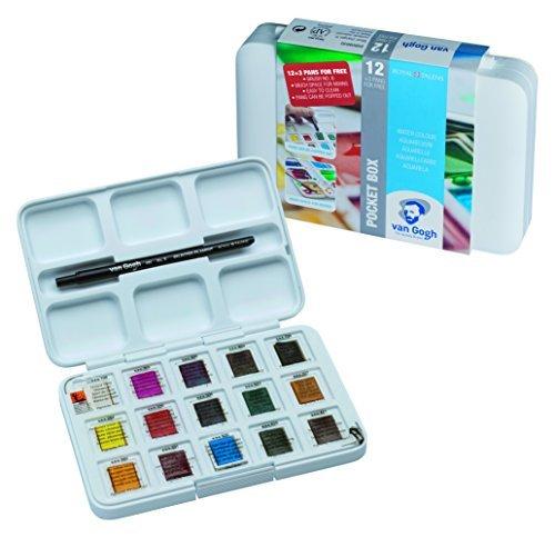 Van Gogh Pack Of 12 Watercolors + 3 Pocket Box + Brush # 6