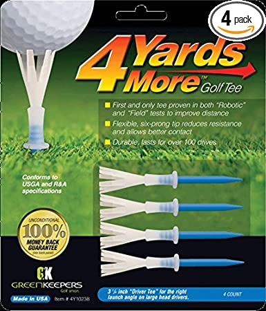 Amazon.com: 4 Yards More Golf Tee – Conductor de 2.5 in (4 ...