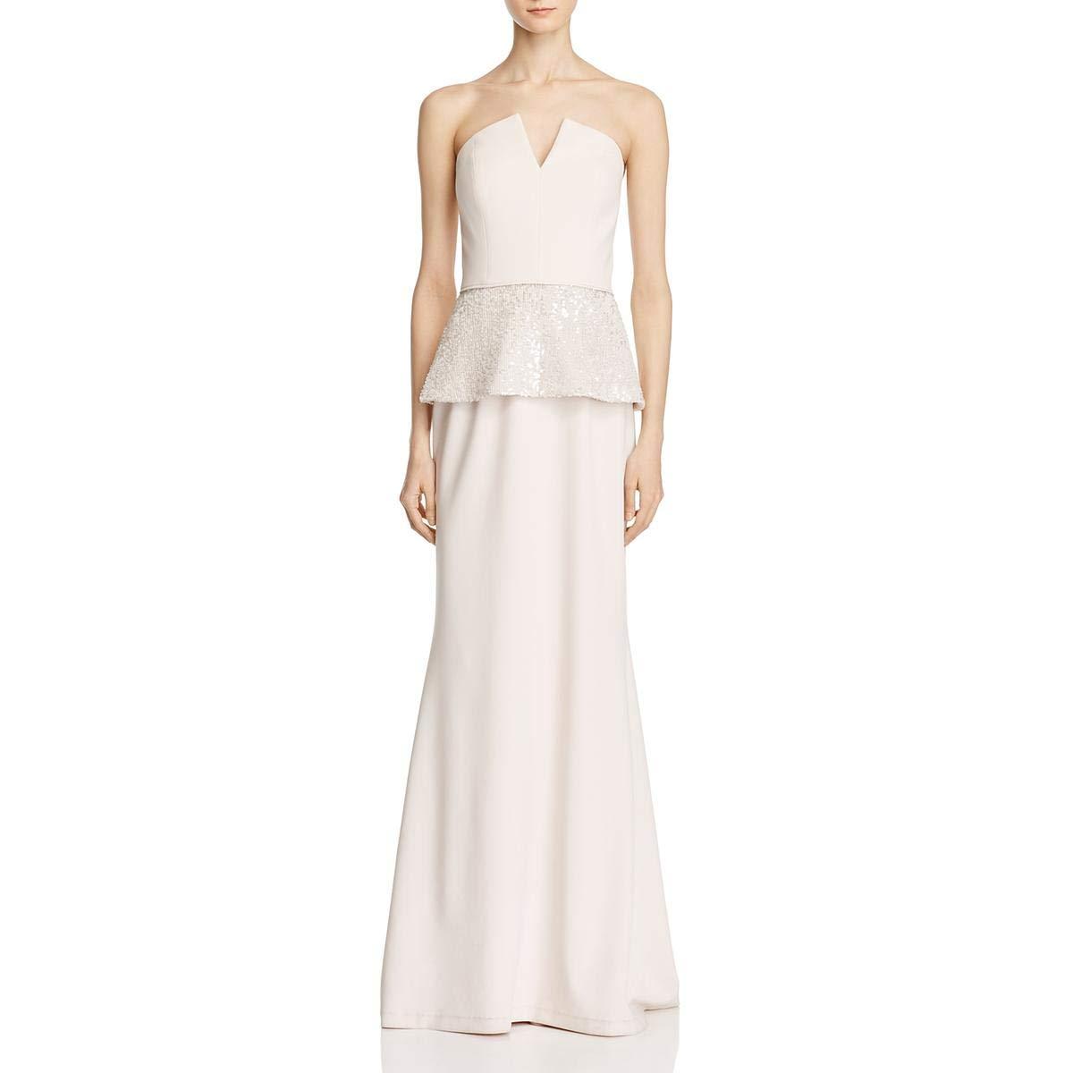 Ice Pink Aidan Mattox Womens Strapless FullLength Evening Dress