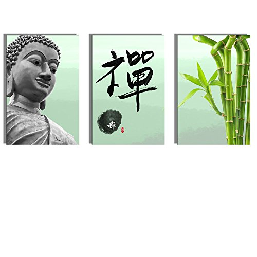 Buddha Statue Zen and Bamboo x 3 Panels