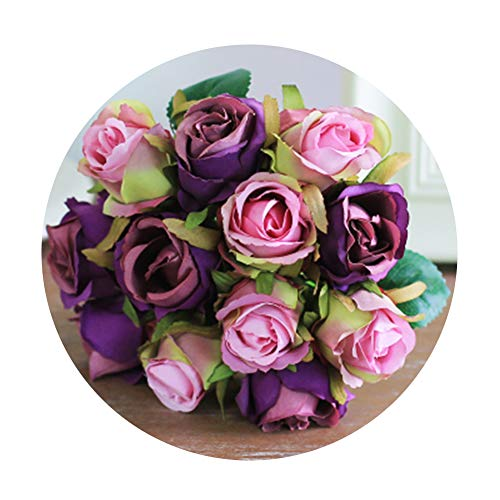Artfen Artificial Rose Flowers Simulation Rose Wedding Bouquets Fake Floral Rose Flower Silk Flower Hand Tied Bouquet Purple (Bouquet Rose Hydrangea)