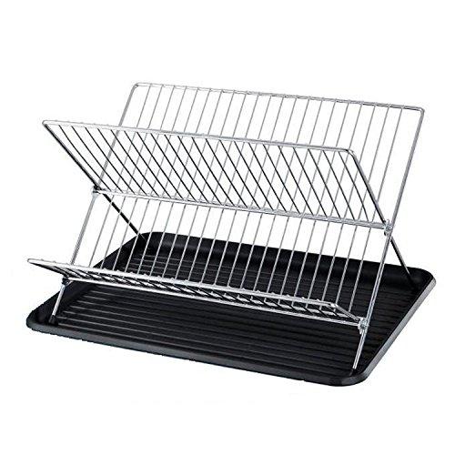 Dish Drainers, BIGWINNER Plate Rack, 2 Tier Folding Dish Rac