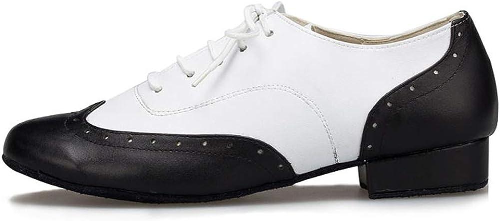 HROYL Zapatos de Baile de latín/Jazz estándar de los Hombres de Cuero Lace up Zapatos de Baile de los Hombres de salón de Baile 703