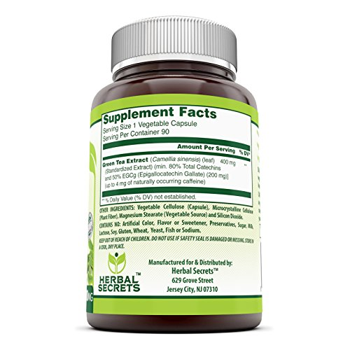 Herbal Secrets Green Tea Extract Supplement with EGCG for Weight Loss 400 Mg 90 Capsules - Natural Source of Energy that supports cardiovascular health*