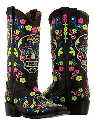 Cowboy Professional - Women's Black Catrina Punk Skull Western Leather Cowboy Boots Square Toe 11 CDW